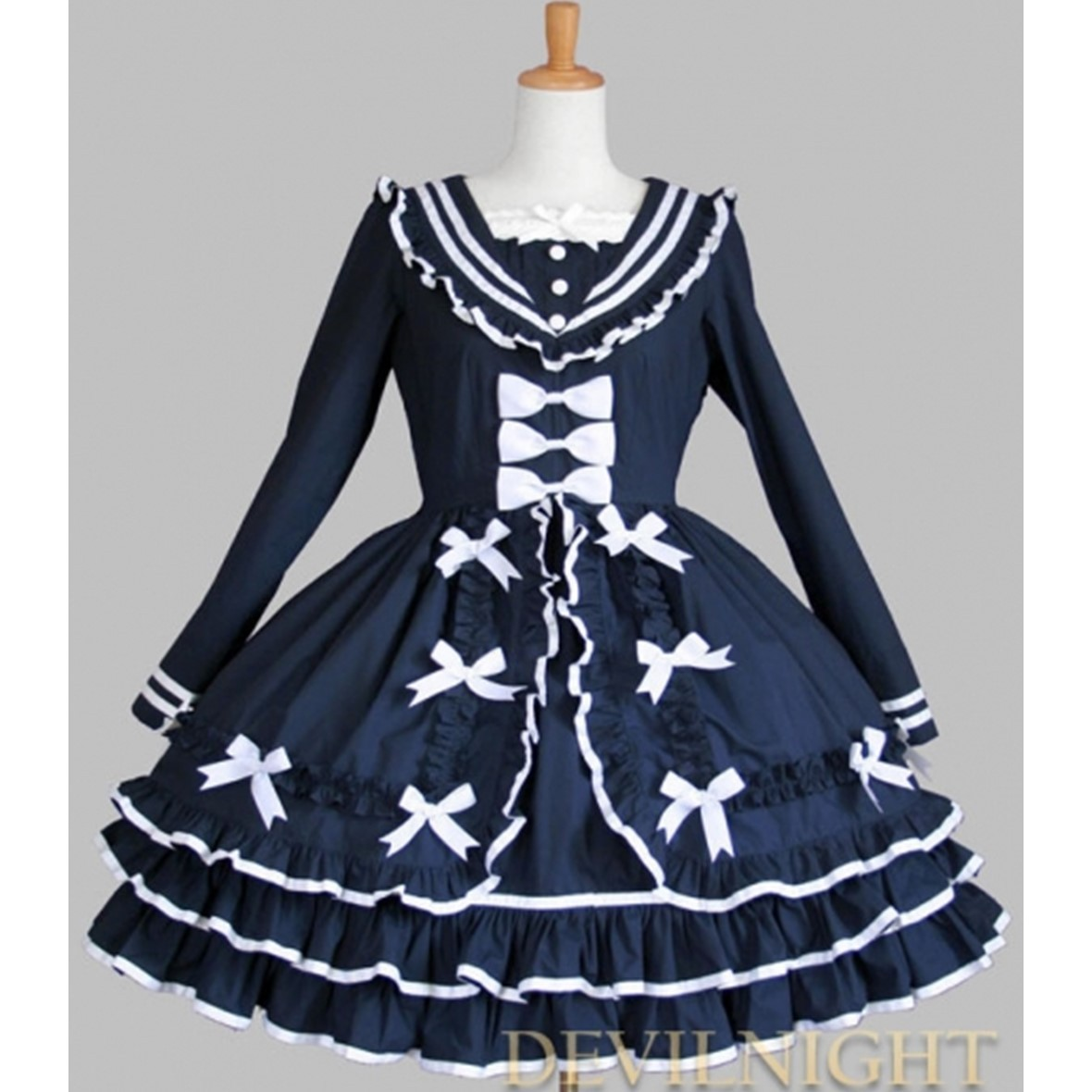 ◆DevilNight◆BLUE COTTON LONG SLEEVES SWEET LOLITA DRESS