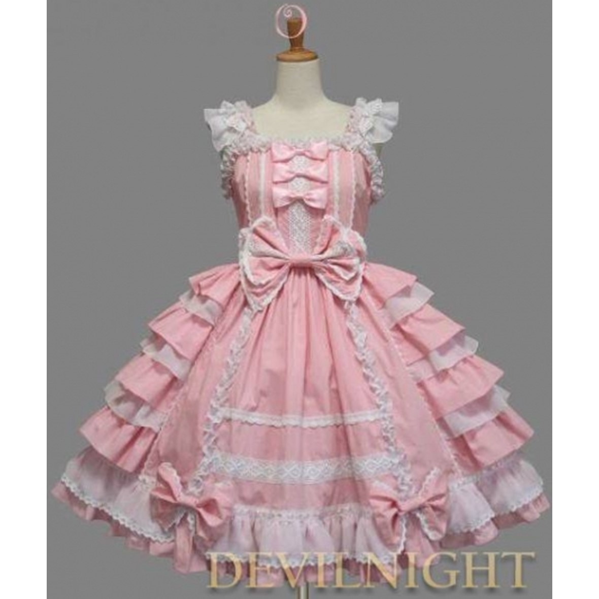 ◆DevilNight◆PINK AND WHITE SLEEVELESS SWEET LOLITA DRESS