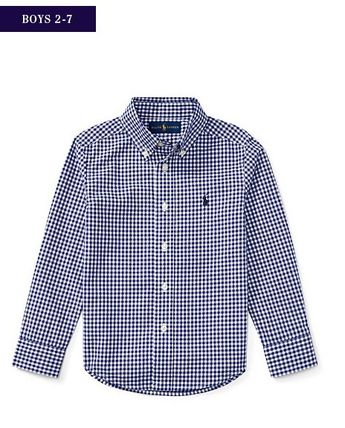 新作♪国内発送 2色 GINGHAM COTTON POPLIN SHIRT  boys 2~7