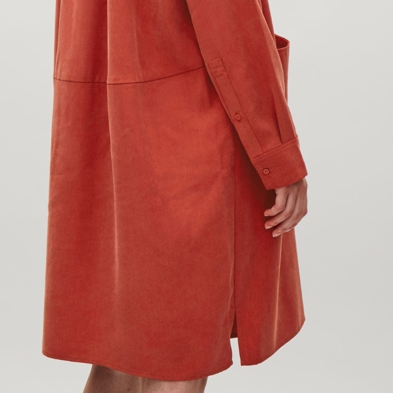 """COS""OVERSIZED LYOCELL SHIRT DRESS RED"