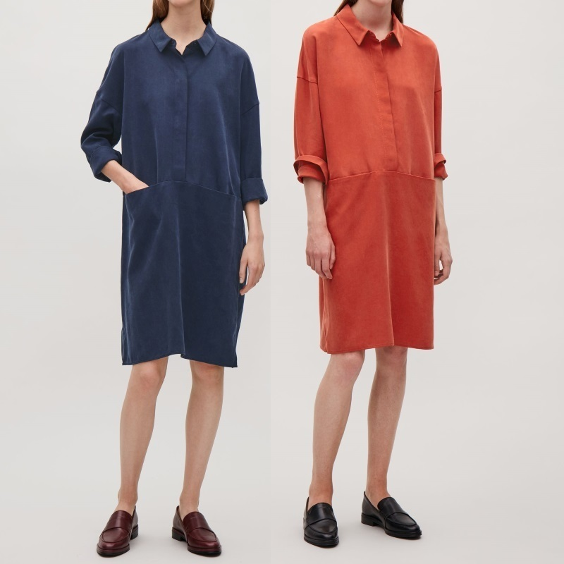 """""""COS""""OVERSIZED LYOCELL SHIRT DRESS RED"""
