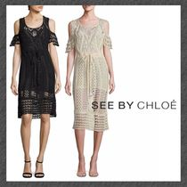See by Chloe◆クロシェワンピ◆ Cold-Shoulder Crochet Dress