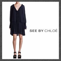 See by Chloe◆プリーツワンピ◆Crepe Pleated Ruffle Dress
