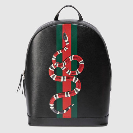 GUCCI(グッチ)☆Web and Kingsnake print leather backpack☆