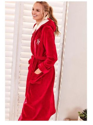 ★bright cherry★The Cozy Hooded Long Robe