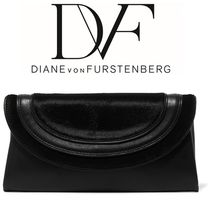 【関税送料込】DV☆Calf hair-paneled leather clutch
