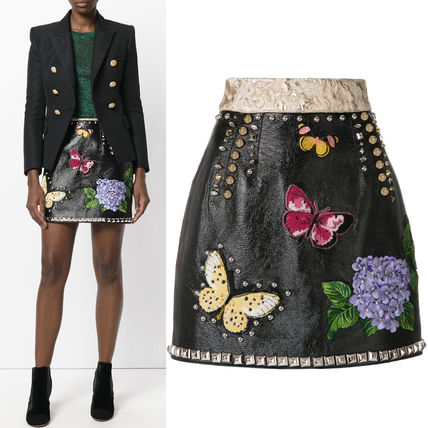 17-18AW DG1234 STUDDED LEATHER SKIRT WITH FLORAL APPLIQUE