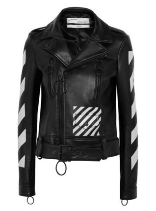 ★関税負担★OFF-WHITE★PRINTED LEATHER BIKER JACKET★EMS発送