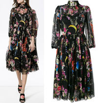 17-18AW DG1238 PRINTED SILK  FLARE DRESS WITH SCALF