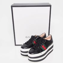 GUCCI PEGGY LEATHER PLATFORM SNEAKERS[RESALE]