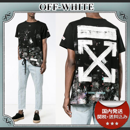 18AW/送関込≪OFF-WHITE≫ Galaxy Brushed プリント Tシャツ