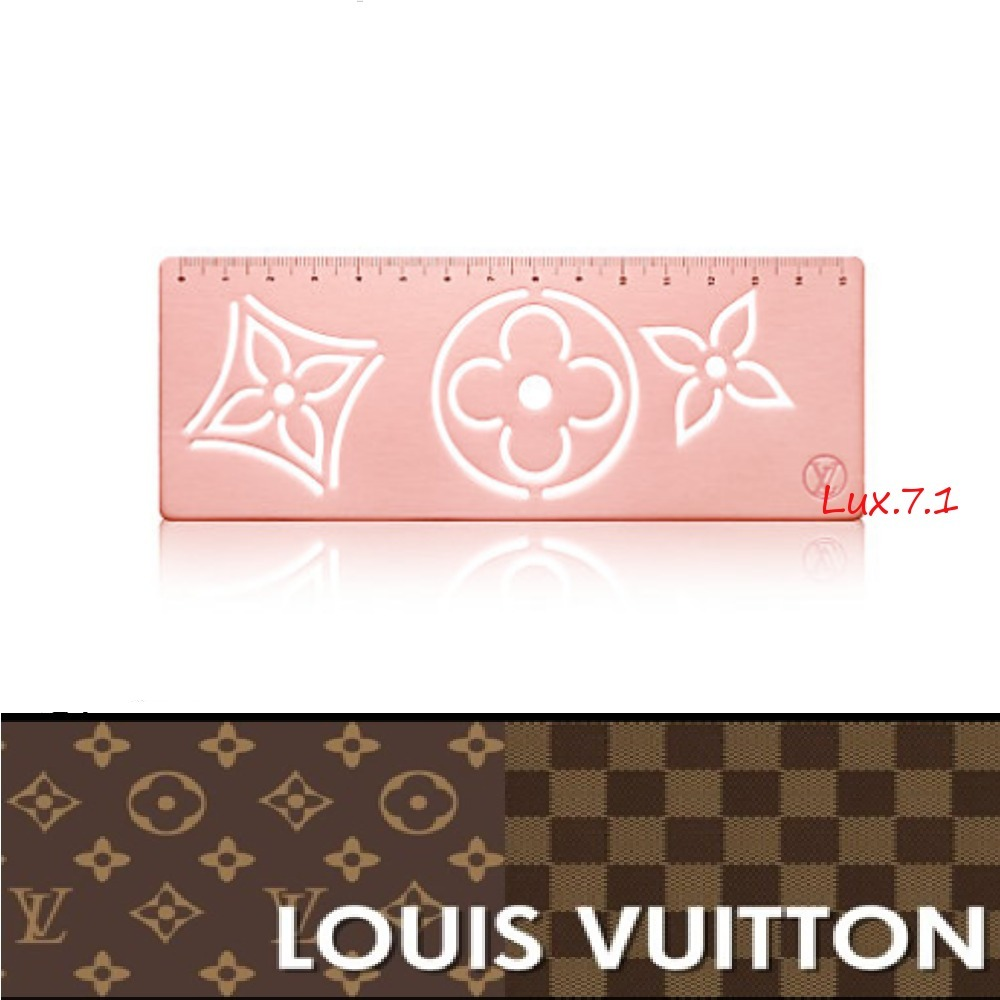 【Louis Vuitton】フラワー模様★赤とピンク★バイカラー定規