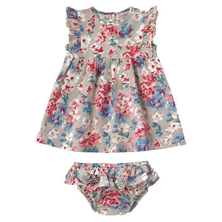 Cath Kidston BABY FRILL SLEEVE DRESS WOODSTOCK FLOWERS