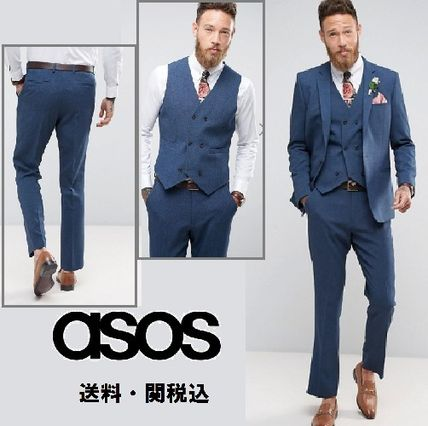 ASOS Weddingスリムスーツ in Cross Hatch with Printed Lining