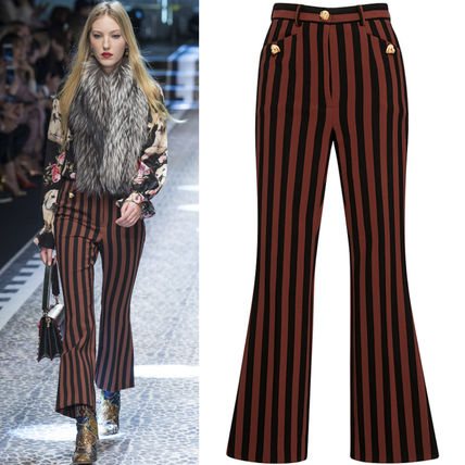 17-18AW DG1254 LOOK63 STRIPED TROUSERS WITH DOG HEAD BUTTON
