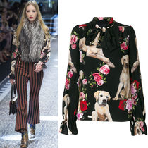 17-18AW DG1255 LOOK63 DOGS & FLORAL PRINTED SILK BLOUSE
