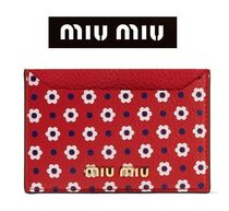 ★関税負担★MIU MIU★PRINTED TEXTURED-LEATHER CARDHOLDER