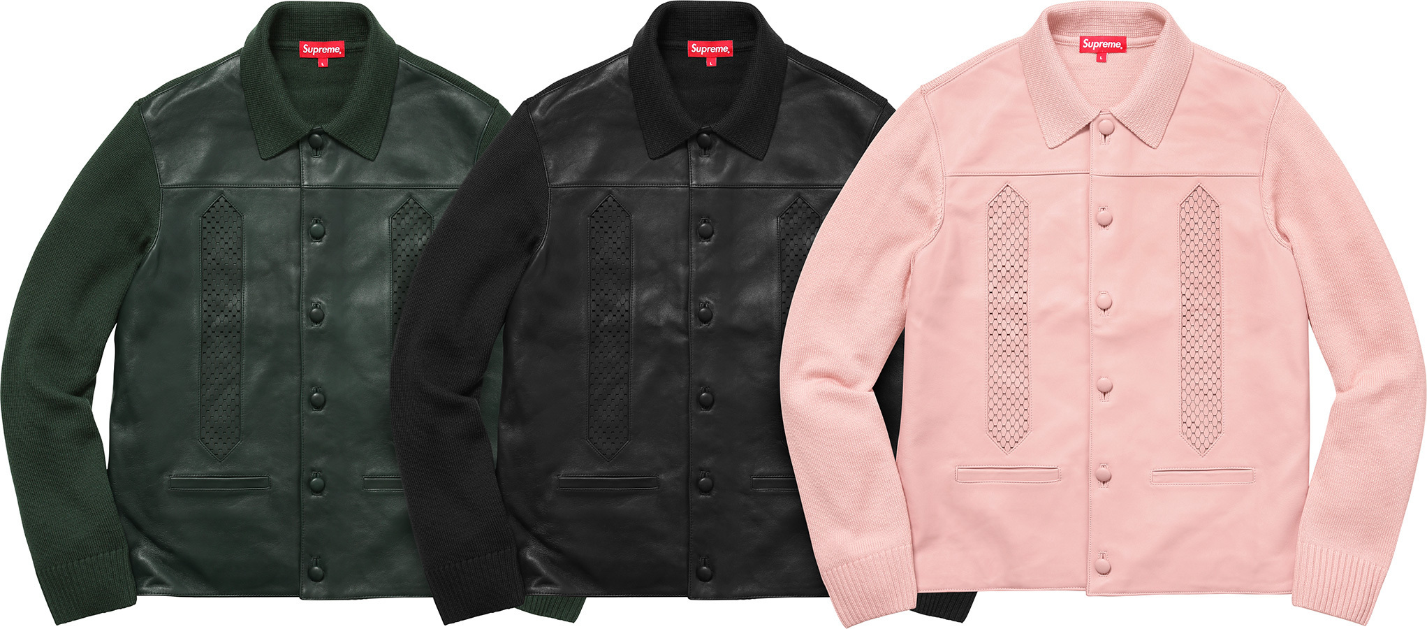 Week1新作!SUPREME17FW★Leather Front Polo Sweater