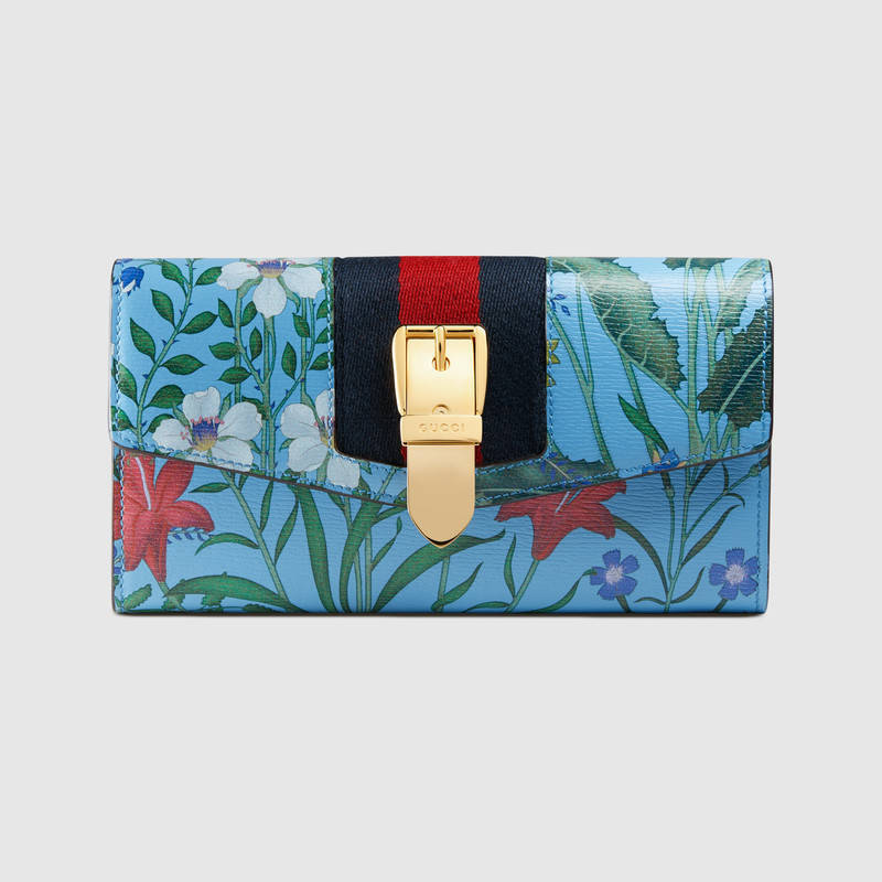 GUCCI★Sylvie New Flora print leather continental wallet