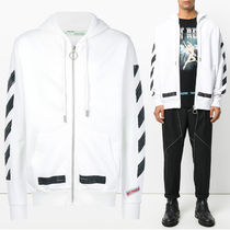 Off-White 17AW BRUSHED DIAGONALS ジップアップ パーカー_WHITE
