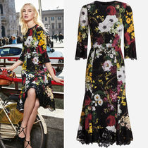 17-18AW DG1261 FLORAL PRINTED SILK DRESS WITH LACE OVERLAY