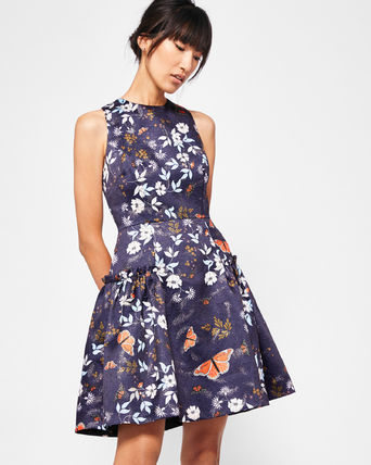 AW17-18★TED BAKER★ガーデン柄スケーターワンピース ROUBY