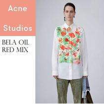 Acne Bela Oil red mix フラワープリントベーシックブラウス
