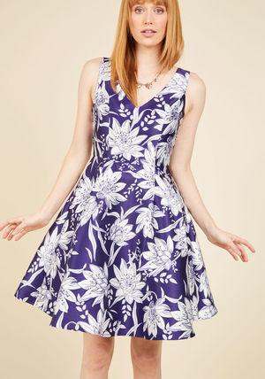 ladylike luxury fit and flare dress in violet