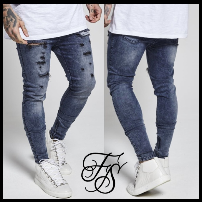 国内発送☆SikSilk★Oil Dye Hareem Jeans / Blue Acid Wash