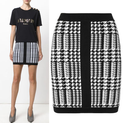 17-18AW BAL141 HOUNDSTOOTH KNITTED MINI SKIRT