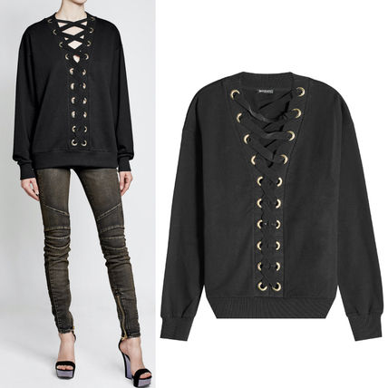 17-18AW BAL159 COTTON SWEATSHIRT WITH LACE UP DETAIL