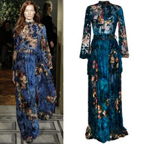 ALBERTA FERRETTI(アルベルタフェレッティ) ワンピース 17-18AW AF022 LOOK29 FLORAL VELVET GOWN WITH BELT