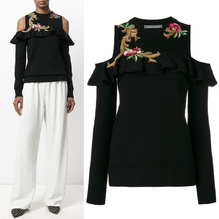 17-18AW AF032 EMBROIDERED COLD SHOULDER PALACE SWEATER