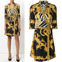 17-18AW VER103 SIGNATURE PRINT SILK TWILL BELTED DRESS