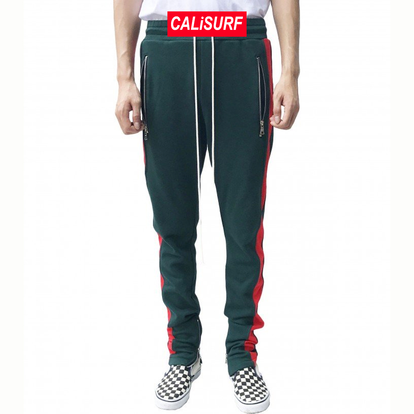36/ URKOOL(ユーアークール)DARK GREEN TRACK PANT - RED PANEL