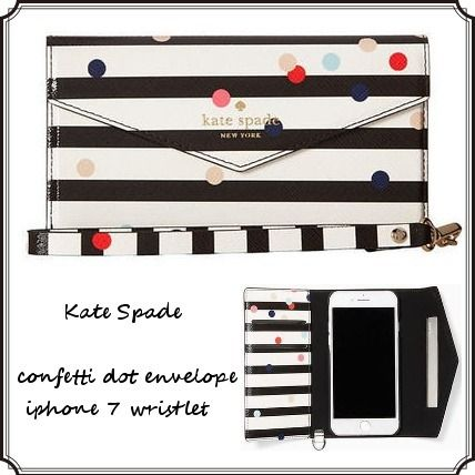 *Kate Spade*ボーダー×水玉*iPhone7ケース*手帳型リストレット