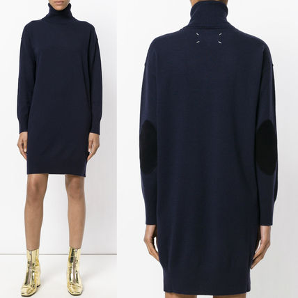 17-18AW MMF094 TURTLENECK WOOL KNIT DRESS WITH ELBOW PATCH