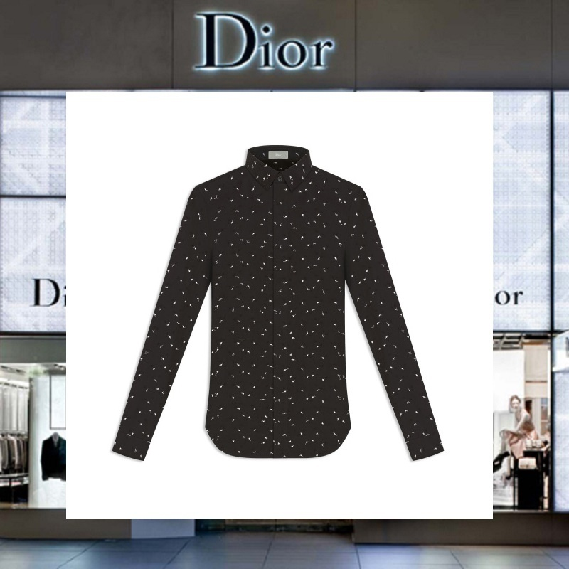 【17AW NEW】 Christian Dior_men /ALL-OVERドット刺繍シャツBK
