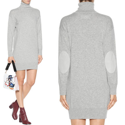 17-18AW MMF101 TURTLENECK WOOL KNIT DRESS WITH ELBOW PATCH