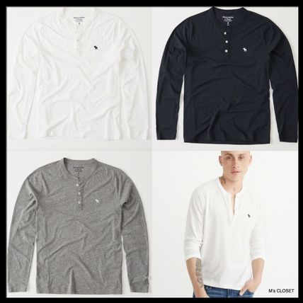 Abercrombie & Fitch Tシャツ・カットソー アバクロAbercrombie & Fitch ベーシック ヘンリー長袖Tシャツ