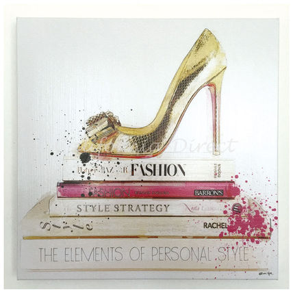 Oliver Gal アート・美術品 Oliver Gal Gold Shoe And Fashion Books 小さいサイズ 41x41cm
