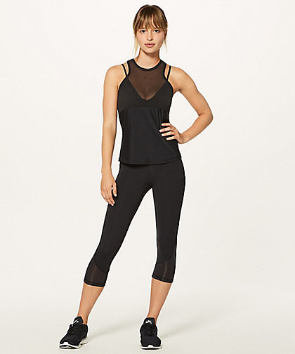 lululemon☆Fresh In Mesh Tank ブラ付きタンクトップ black