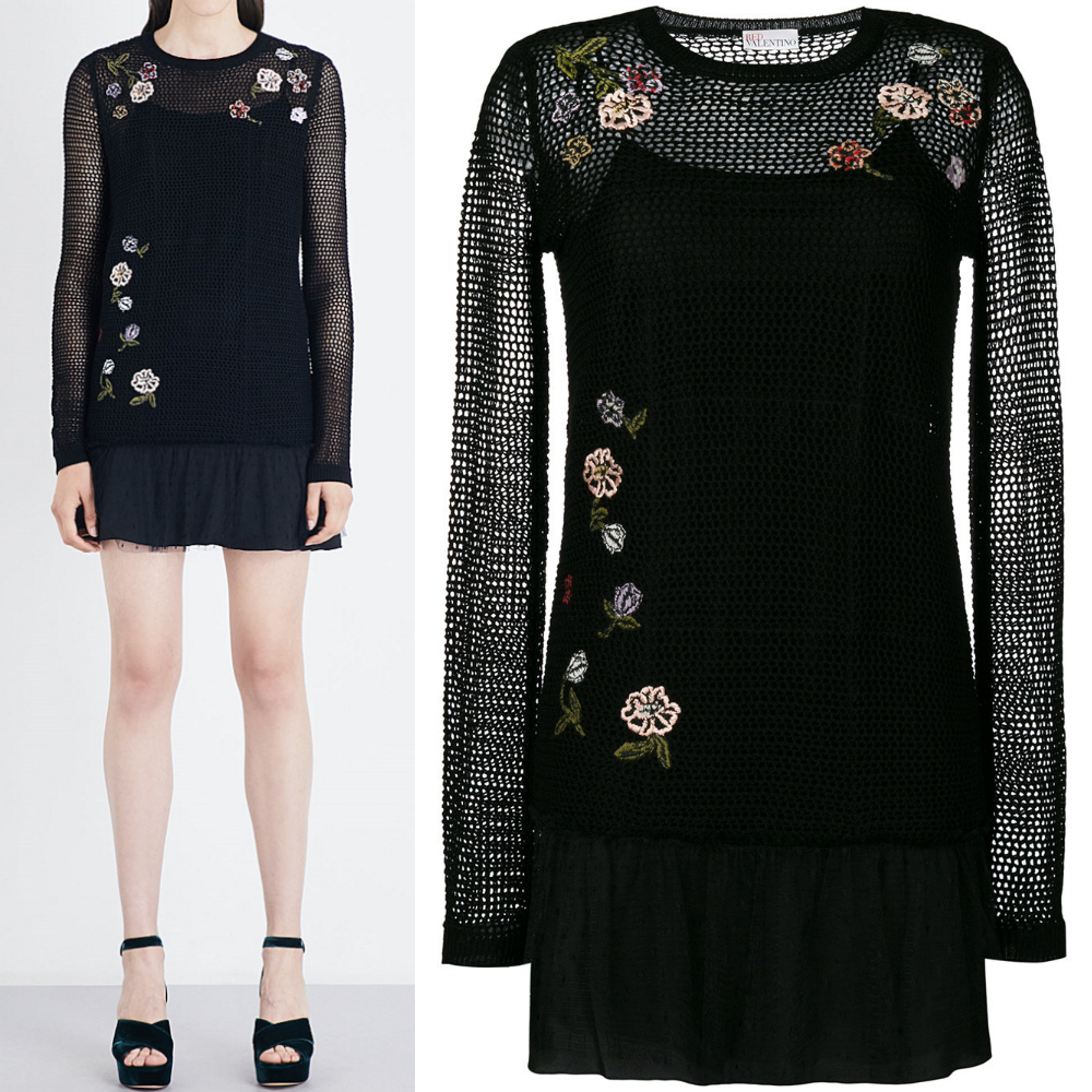 17-18AW RV064 FLORAL EMBROIDERED KNIT MINI DRESS