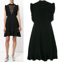 17-18AW RV065 MACRAME LACE INSERT FLARE DRESS