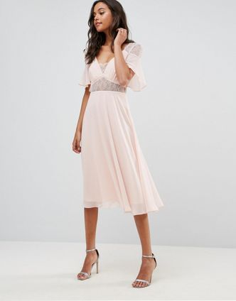 ASOS【送料無料】Lace Insert Flutter Sleeve Midi Dress