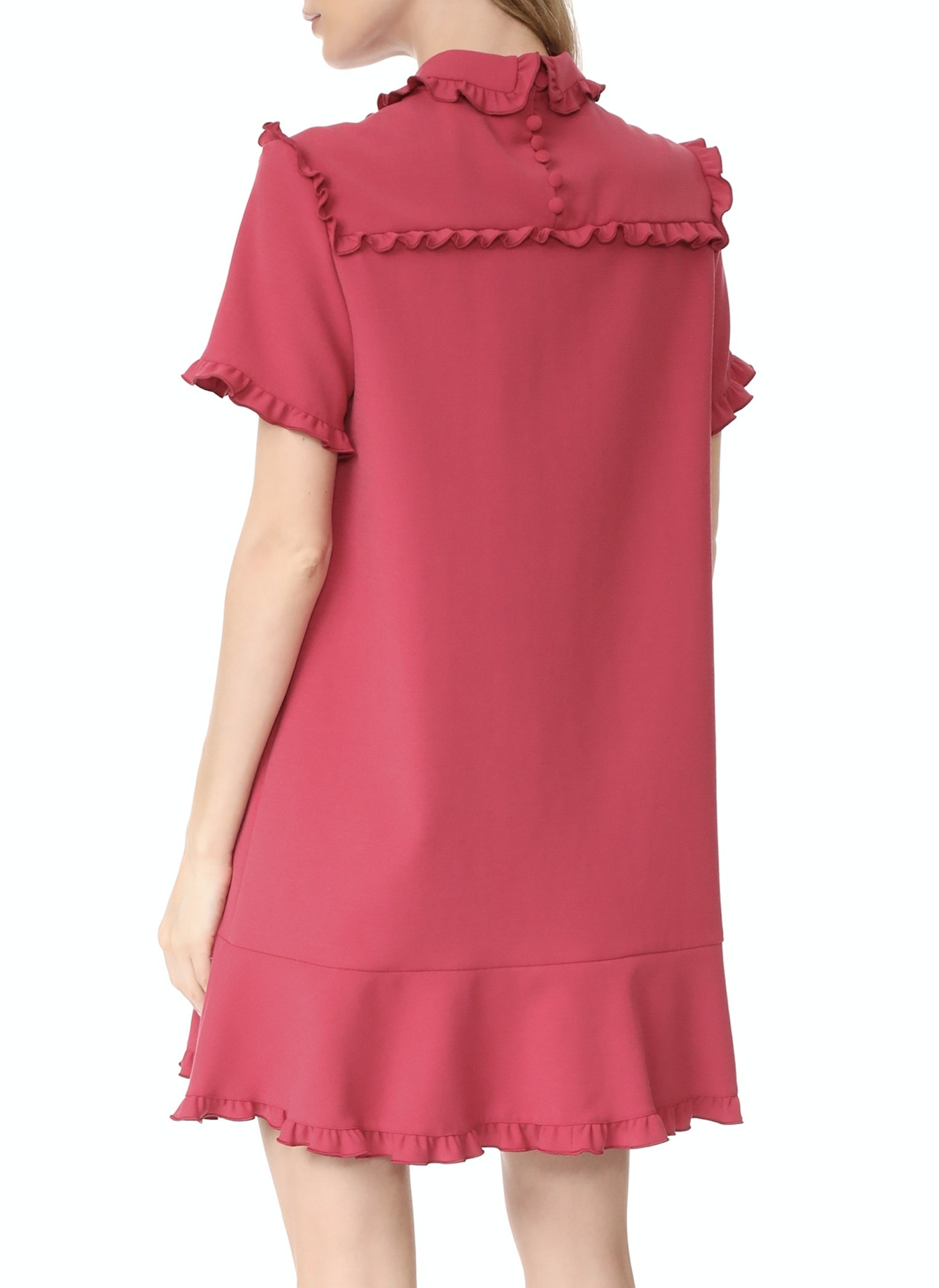 17-18AW RV070 RUFFLED STRETCH CREPE MINI DRESS