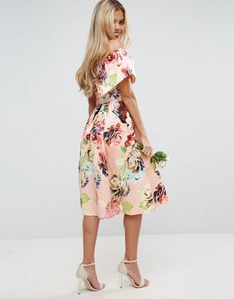 ASOS WEDDING【送料無料】Print Structured Prom Midi Dress