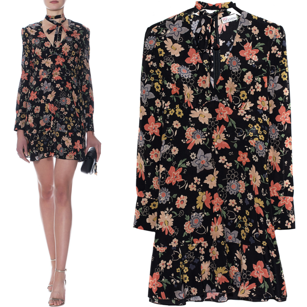 17-18AW RV071 CHELSEA FLOWERS PRINTED SILK DRESS WITH RIBBON