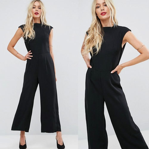 国内発送ASOS Jumpsuit with High Neck and Wide Leg