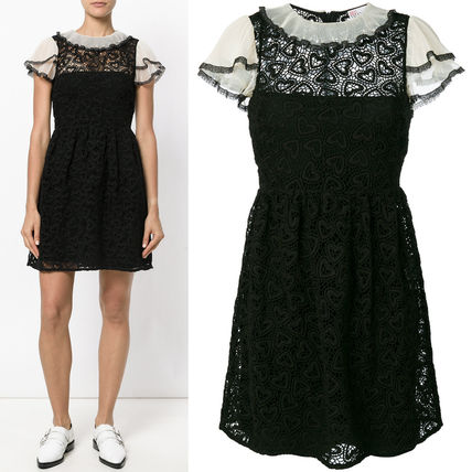 17-18AW RV079 MACRAME LACE FLARE DRESS WITH RUFFLED SLEEVES